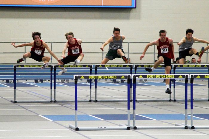 Luke+Papich%2C+Graham+Bates%2C+and+Britt+Beinfang+compete+in+the+55m+hurdles.
