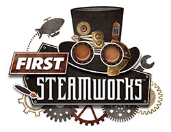 The logo for the 2017 FIRST competition, FIRST Steamworks.
