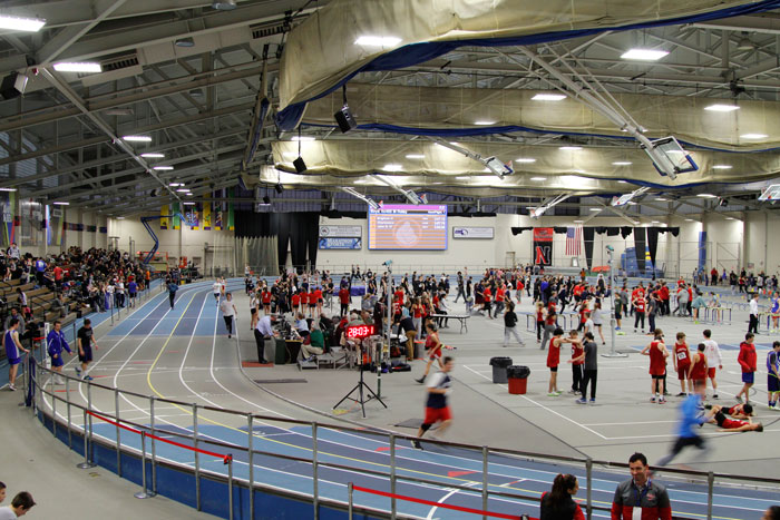 The Reggie Lewis Track and Athletic Center, located in Roxbury, hosts all indoor track meets on the South Shore.