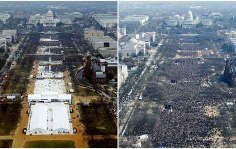 The size of the crowd at Trump's inauguration (left) was contrasted with that of Obama's first inauguration (right).