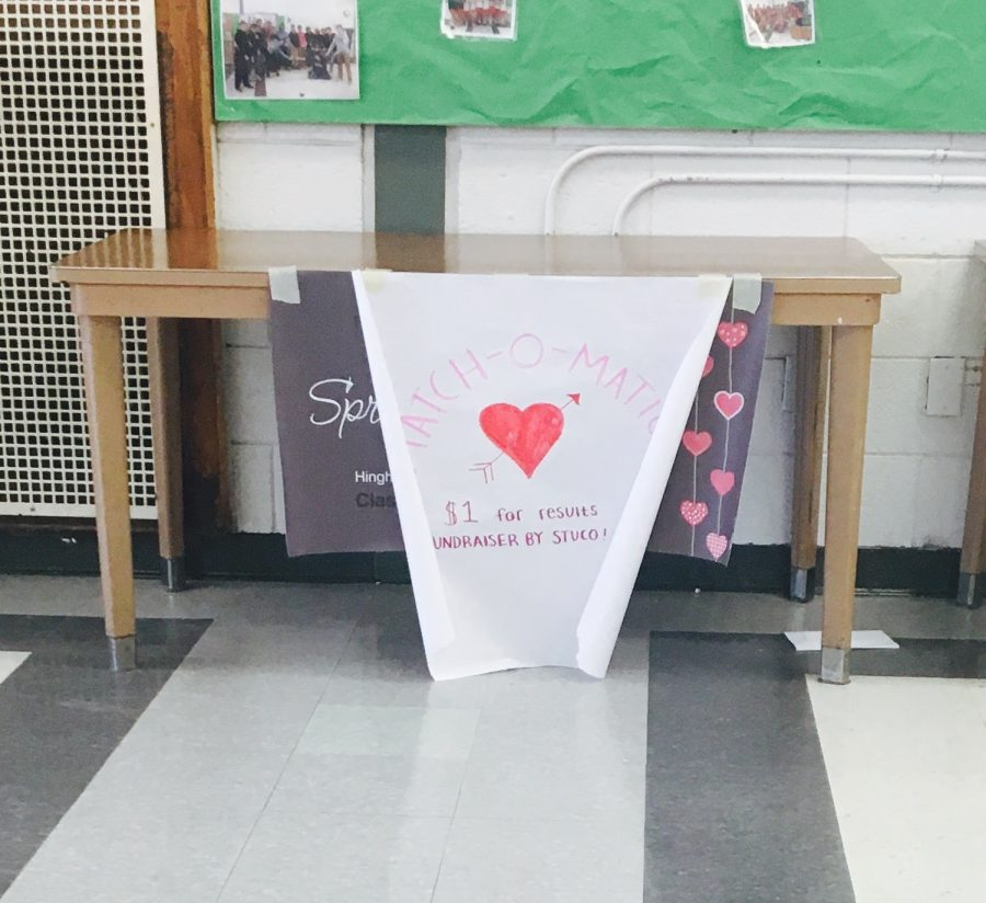 The Student Council sold the printouts of Match-o-Matic quiz at lunch on Valentine's Day for $1.