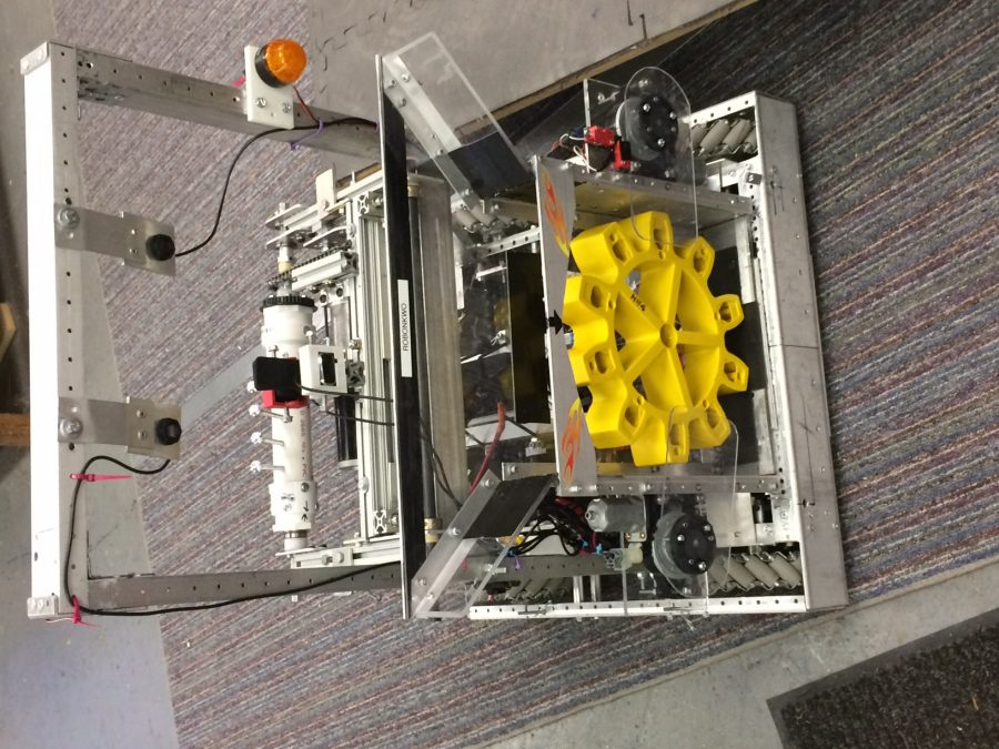 Team 5000's finished robot being tested at the TRACES building