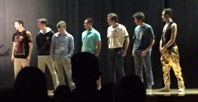 Scott Myers, Max Giarrusso, Al Ferrara, Josh Brown, Dylan Lindsey, Jack Muldoon, and John Mills, all in the competition to become THE Mr. HHS.
