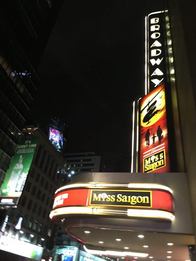 The Broadway Theatre advertises Miss Saigon.