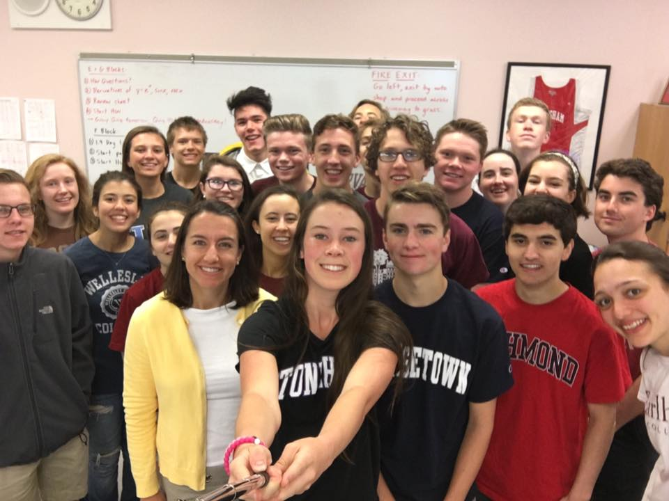 The BC Calculus class takes a selfie via-selfie stick on their last day of A block math class.