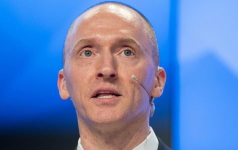 Trump campaign advisor Carter Page speaking at a news conference in Moscow, Russia.