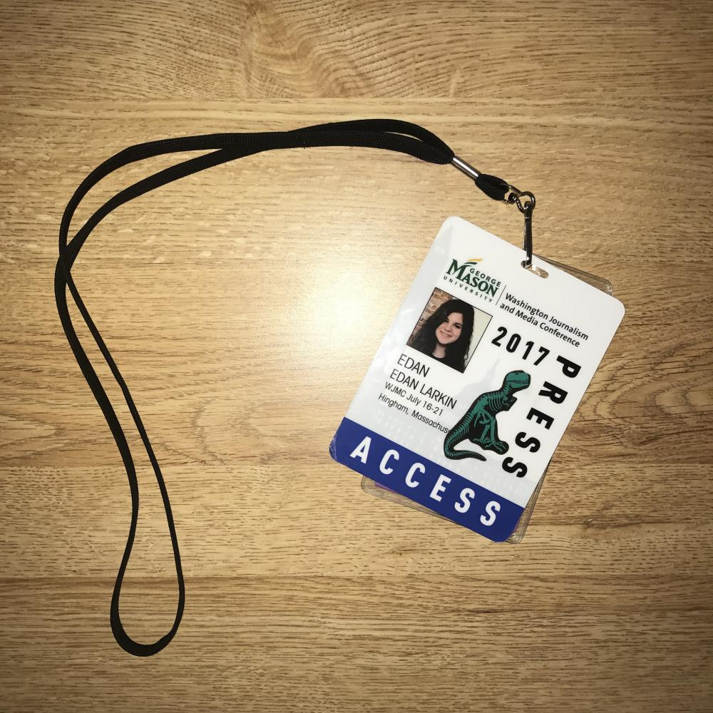 My press pass for the event (with a dinosaur sticker on it).
