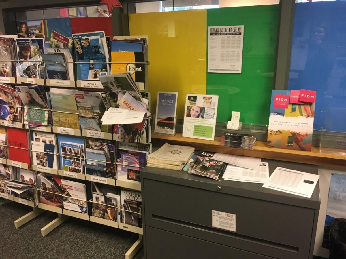 Multiple college fliers held on a rack (left) and standardized test prep programs and tutor information fliers (right) in counseling common area.