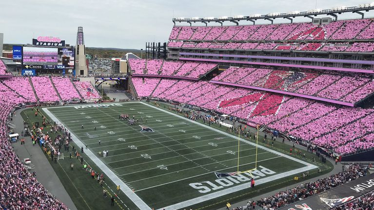 Last+year%2C+Gillette+Stadium+put+on+a+beautiful+display+before+a+Patriots+game+in+order+to+demonstrate+its+support+of+breast+cancer+awareness.+The+patriots+and+other+sports+teams+show+their+solidarity+with+those+affected+by+breast+cancer+every+year+in+varying+ways.