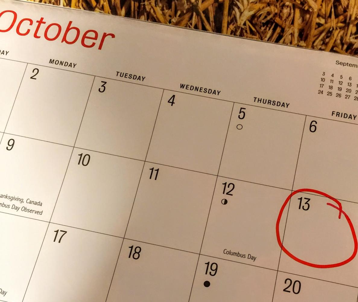 In 2017, the infamous Friday the 13th occurs in October.