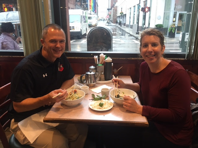 Chaperones Mr Swanson and MS O'Connor enjoy a meal at Pho Pasteur.