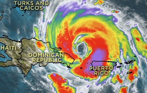 At Hurricane Maria's peak, the storm made landfall on Puerto Rico and the Dominican Republic, causing damage on most of the island. (Graphic courtesy CNN)