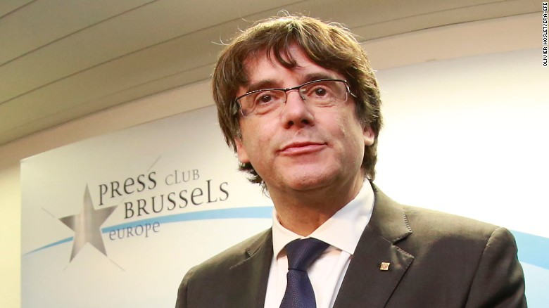 Deposed Puigdemont speaks in Brussels on Tuesday, announcing his party's plan to run in the December 21 elections. (Photo: CNN)