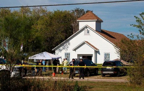 The First Baptist Church in Sutherland Springs, Texas in the aftermath of the shooting on November 5 that killed 26 people and injured at least 20. Photo via CNN.