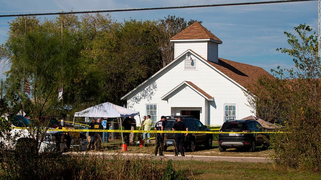 The+First+Baptist+Church+in+Sutherland+Springs%2C+Texas+in+the+aftermath+of+the+shooting+on+November+5+that+killed+26+people+and+injured+at+least+20.%0APhoto+via+CNN.
