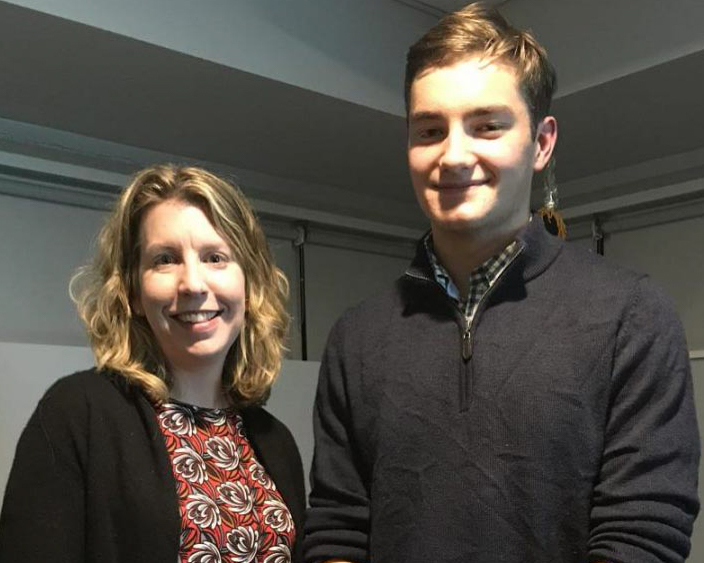 Dylan Davis poses with Hingham High teacher Christine O'Connor, who partnered with him to complete the project.