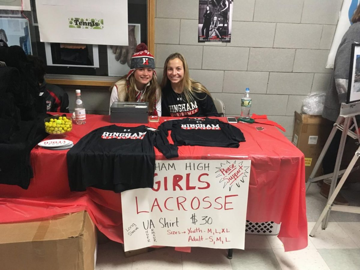 Senior Audrey Cole and freshman Jen Hickens representing Girls Lacrosse on Saturday afternoon.