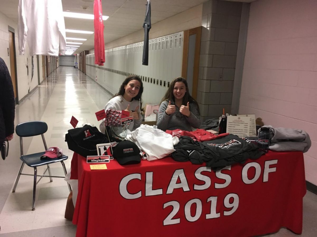 Juniors Julia Cerio and Leah Humphrey representing Class of 2019 on Saturday morning.