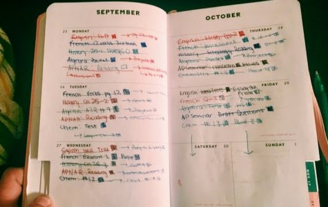 The homework assignments for an average week fill this Hingham High School Sophomore's agenda book.