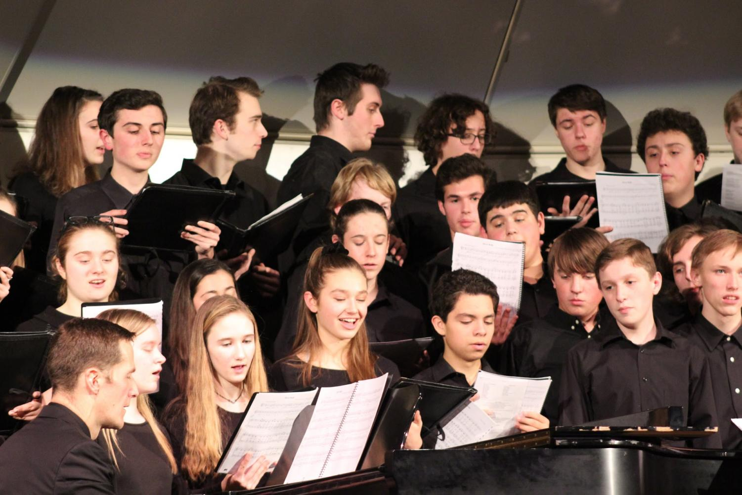 All the members of the Hingham Highschool Chorus take part in the Christmas sing-along. (Photo by Patty McDonald).