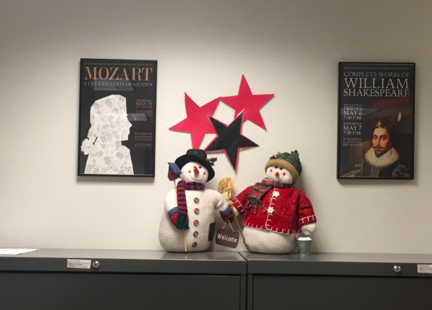 Snowmen decorations in the main office this week.