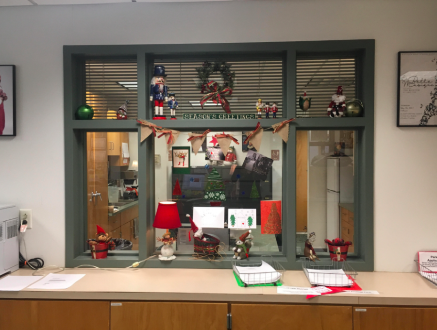 The main office's festive holiday decorations.
