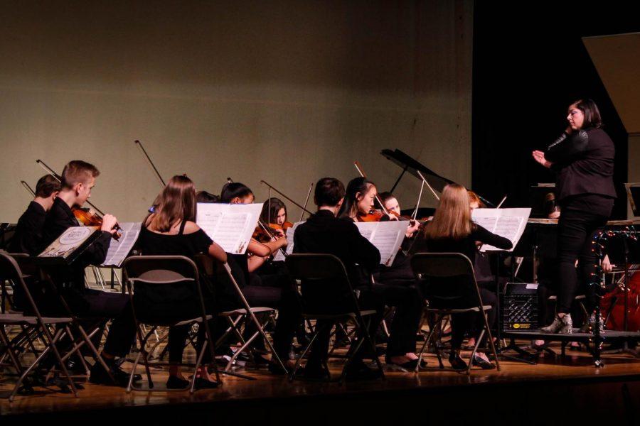 The freshman orchestra strums away on 'Nimrod.'