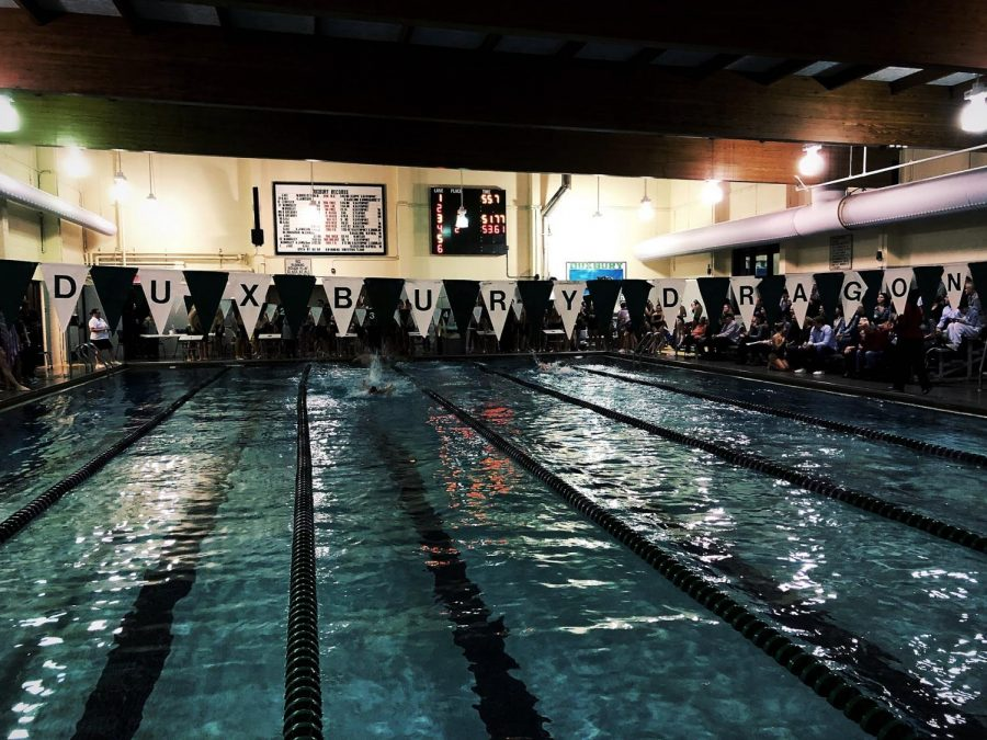 As the Hingham team enters the Duxbury pool they are greeted with this daunting sight.