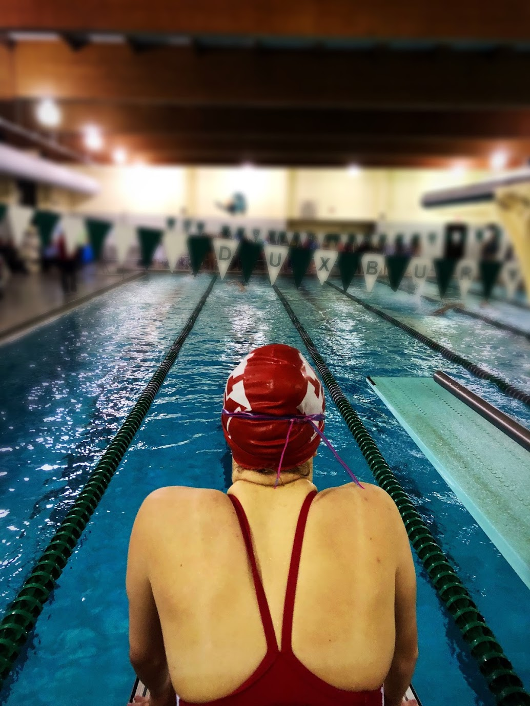 Sophomore Stella Robson prepares to lead off her relay team.