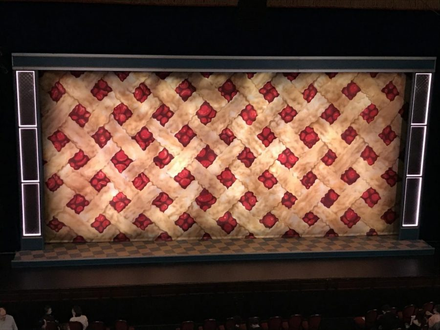 The pie-patterned curtain of Waittress at the Boston Opera House.