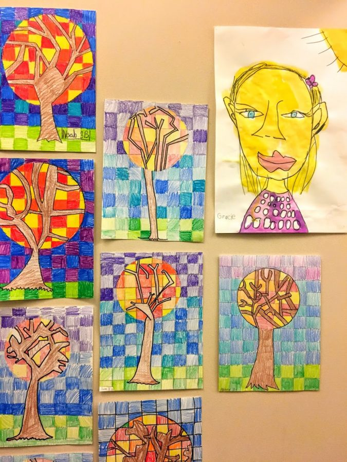 Drawings by students from East Elementary School hang on the second floor.