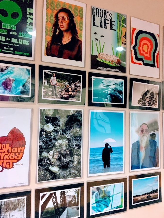 Pieces by students involved in the graphic design program at Hingham High School.
