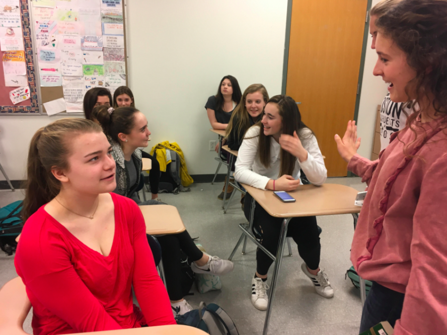 Sophomore Beth Laine conversing with freshman Anna Mayo at the mentor program meeting held this past Thursday March 8, 2018.