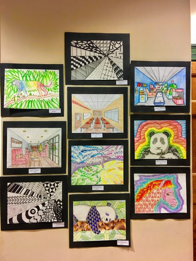 The work of 8th grade artists from Hingham Middle School is displayed on the walls of the first floor at Town Hall.