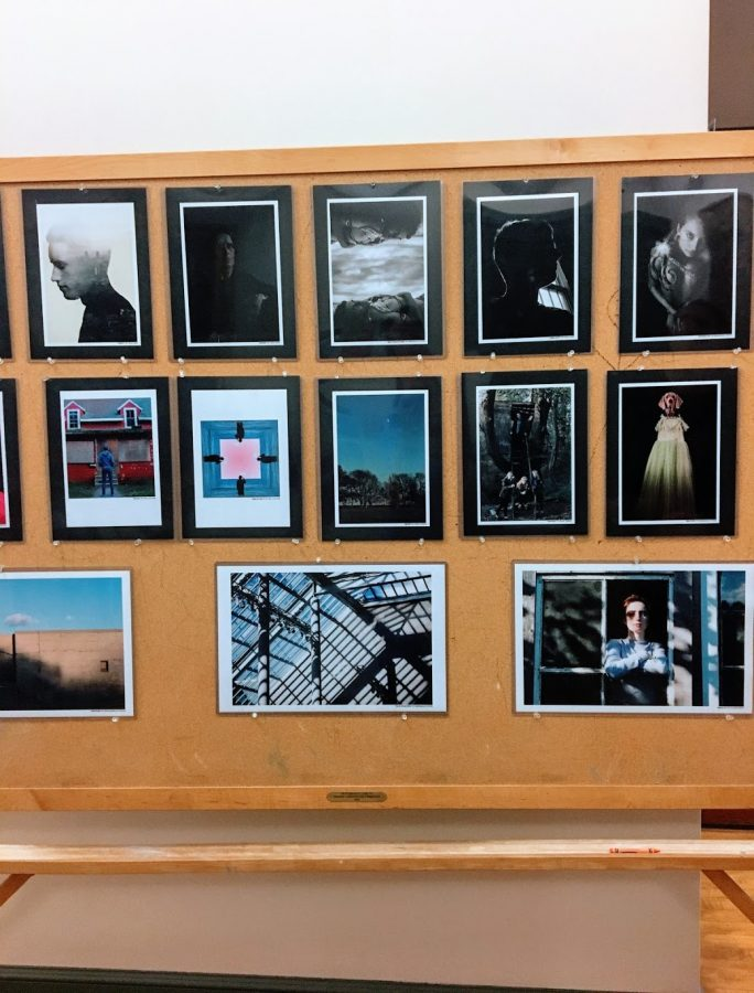 The work of advanced photography students lines the walls of the second floor of the Town Hall.