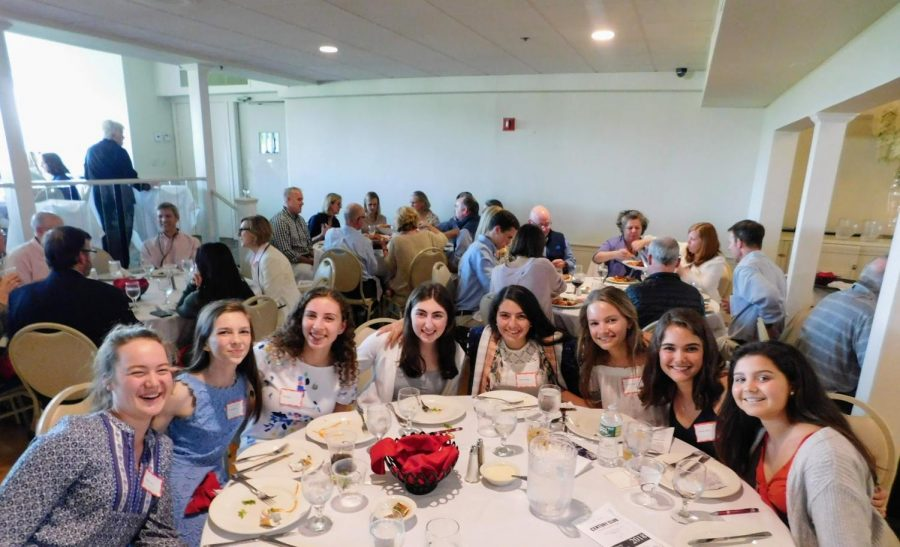 Some of the honorees from the Century Club Dinner this past Thursday. From the left, Claire Schnorr, Emma Beyer, Ellie Zieper, Rachel Warhaftig, Bonnie Passios, Cameron Frank, Delaney Clifford, and Katherine Hernberg.