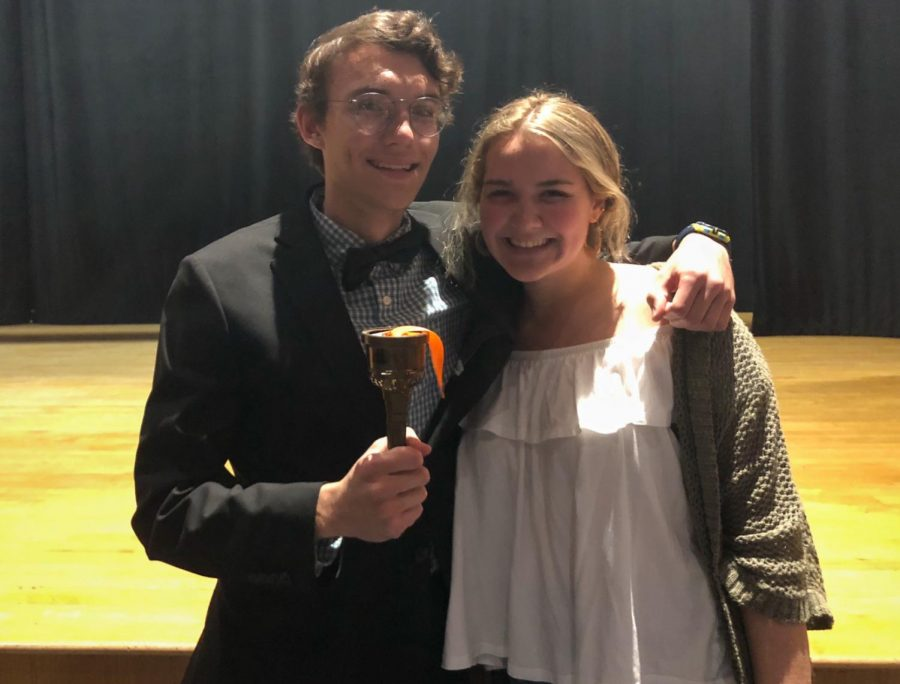 Future drama club presidents Andersson Perry (left) and Casey Hussey (right) pose in front of the stage after being passed the