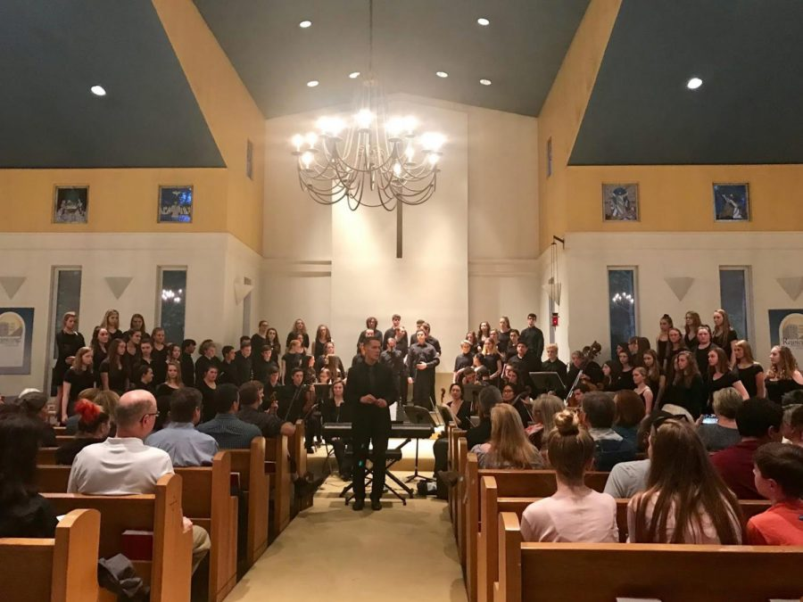The Hingham High chorus performing at the House Of Prayer Lutheran Church. Photo by Patricia McDonald