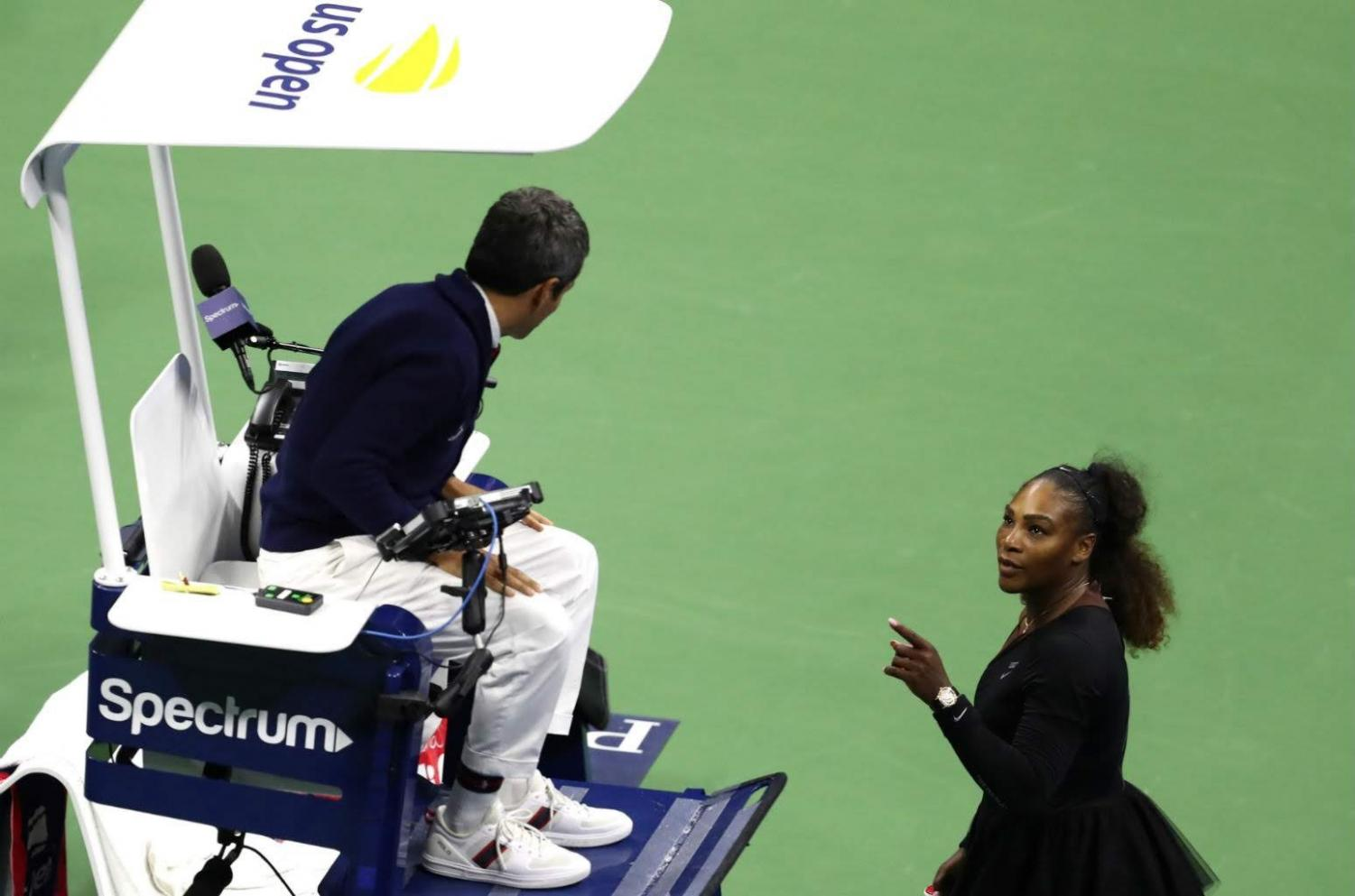 Serena Williams confronts umpire Carlos Ramos for making what she claims to be