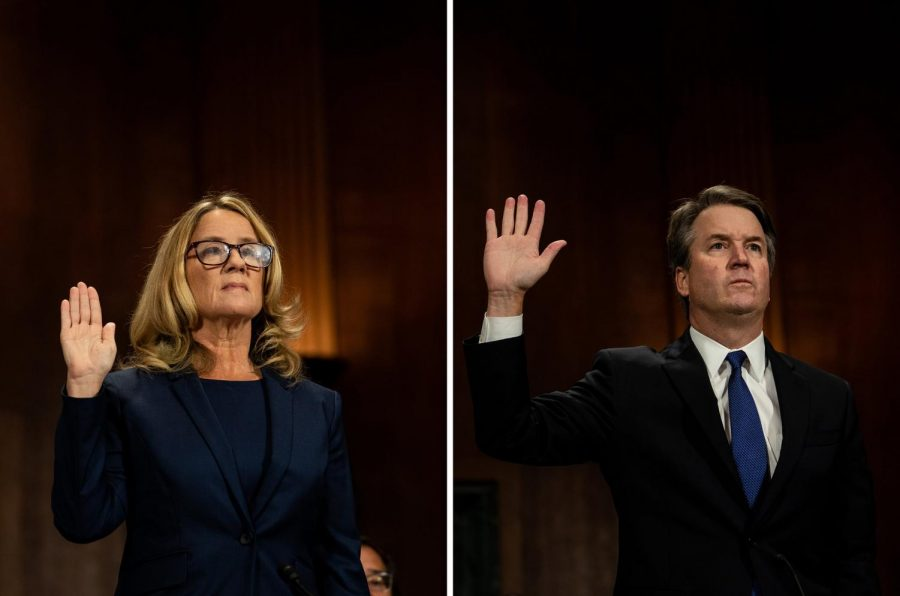 Christine Blasey Ford and Judge Brett M. Kavanaugh being sworn in separately before their Senate testimony on Thursday.