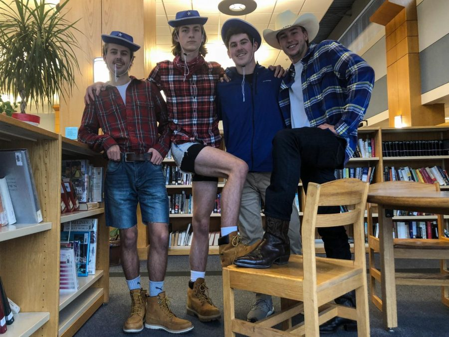 Seniors (from left) Nic England, Coleman Clifford, Christopher O'Connor, and Cole Hartman embrace their inner cowboys.