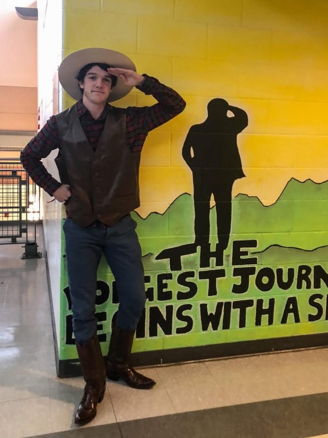 Senior Harry Hull is a stoic cowboy for Wild West day.