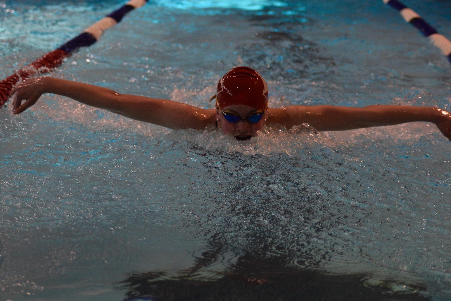 Freshman Ava Burnham had a very successful Patriot Leagues, coming in 2nd in the 100 back and 6th in the 100 butterflies.