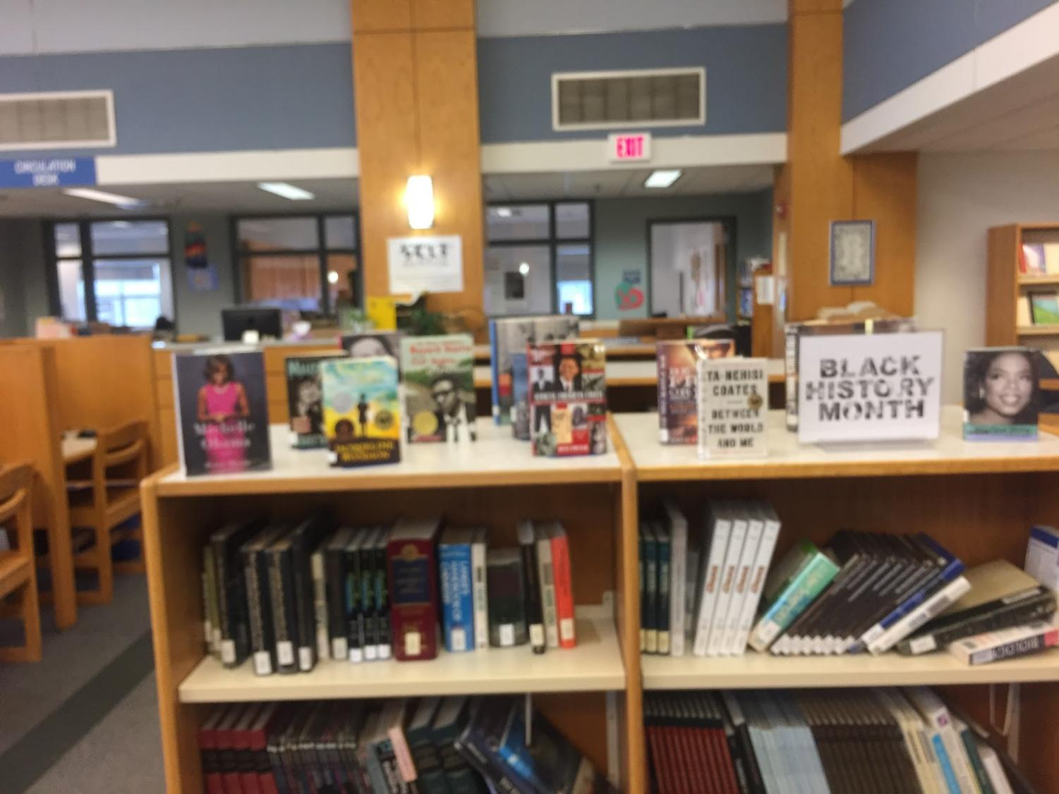 The Hingham Highschool Library has set up a display for black history month.
