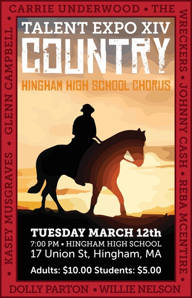 The poster for Hingham High School's talent expo was designed by Senior Conor Power this year.