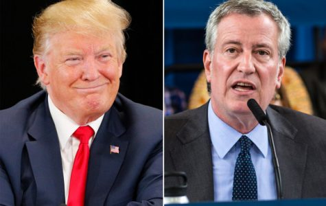 A side-by-side of President Donald Trump and Mayor Bill de Blasio, representatives of the opposing stances taken on the proposed sanctuary cities plan.
