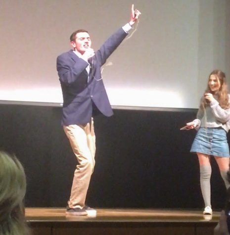 Sophomore Nathan Lavoie and Junior Olivia Barbuto perform their rendition of What I've Been Looking For from High School Musical.