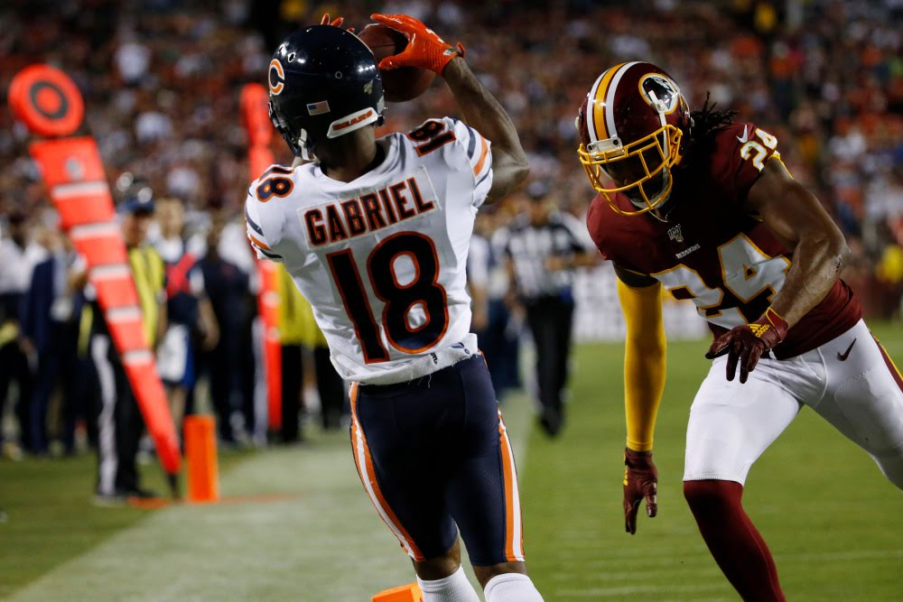 Gabriel makes an amazing catch in the corner of the end zone in the win over the Redskins in Week Three.