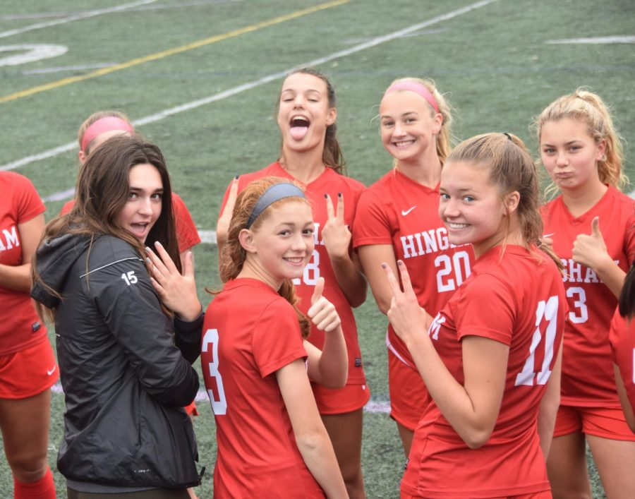 From Back, Left: Sophomore Carly Sullivan (#18), Senior Corinne Hanney (#20), Junior Emma Sharp, (#13) Sophomore Macey Shape, Sophomore Cara Chiappinelli (#3), and Sophomore Michaela Reilly (#11) pose for the camera before the game.