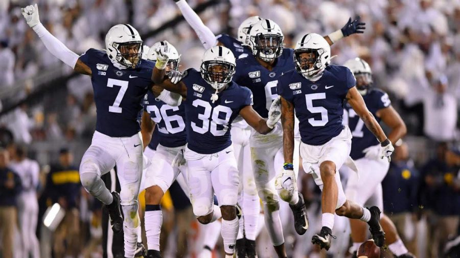 Penn+State+holds+out+the+Michigan+Wolverines+for+a+28-21+win+on+Saturday%2C+10%2F19%2F19.+Lamont+Wade+%28safety%29+leads+the+team+in+celebration+after+a+big+defensive+stop.